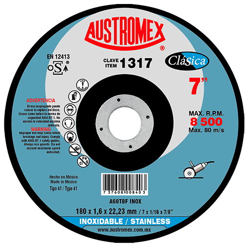 "DISCO DE CORTE 1317 7""X1/16""X7/8"" ACERO INOX. AUSTROMEX"