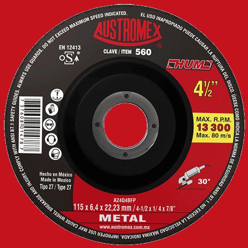 """DISCO C-560 DESBASTE METAL 4 1/2""""X1/4X7/8 """"HUM"""" AUSTROMEX"""