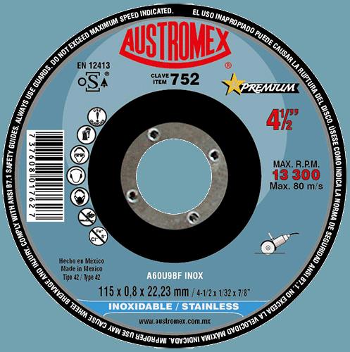 DISCO CUBO 752 ACERO INOXIDABLE 115X0.8X22.23 AUSTROMEX
