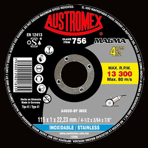 DISCO 756 CORTE ACERO 4 1/2 115 X 1 X 22,23 MM AUSTROMEX