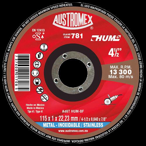 """DISCO C-781 CTE. METAL 4 1/2"""" 115X1X22.23 """"HUM"""" AUSTROMEX"""