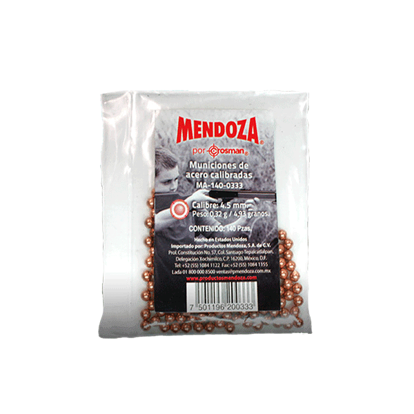 MUNICION DE ACERO CAL.4.5MM C/140PZ MA-140 MENDOZA