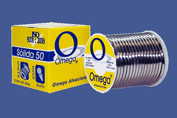 """SOLDADURA PLOMO/EST 50/50 SOLIDA C/AMARILLA 1/8"""" OMEGA"""